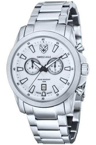 Swiss Eagle SE-9055-22 - Reloj para hombres, correa de acero inoxidable color plateado