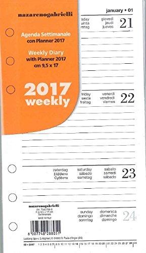 Ricambio 2017 per agenda organizer 9,5x17 settimanale