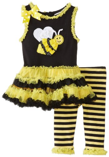 Rare Editions Baby Baby-Girls Newborn Bee Applique Tutu Legging Set, Yellow/Black, 6 Months front-1007613