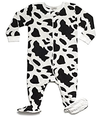 Leveret (F) Footed Black   White Cow Print Fleece Pajama Sleeper (Size  6m-5t) (5 Toddler df143fdc1