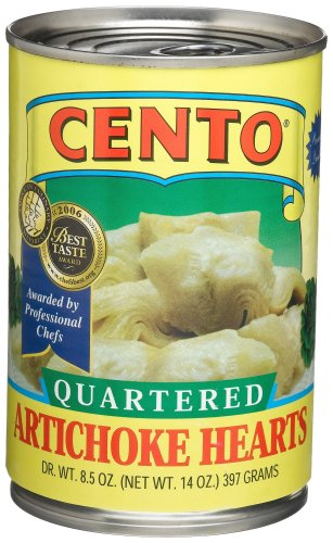 Cento Quartered Artichoke Hearts in Brine, 14-Ounce Cans (Pack of 12)