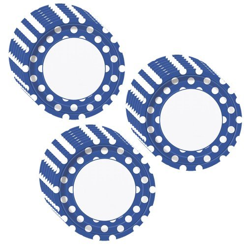 Royal Blue Polka Dots Party Dinner Plates - 24 Pieces