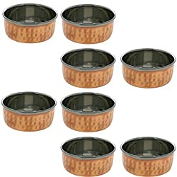 Set of 8, Copper and Stainless Steel Dinner Bowl, Hammered Tableware Accessories, Diameter 4 Inches