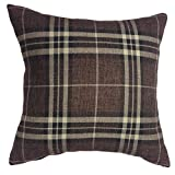 "That's Perfect! Scottish Tartan Plaid 18""x18"" Decorative Throw Pillow Sham - COVER (Brown)"