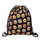 VIOMO 巾着袋 eomojiバッグ ギャザーバッグ ナップサック スポーツバッグ シンプル 軽量 運動 アウトドア 男女兼用 (emoji, ブラック)