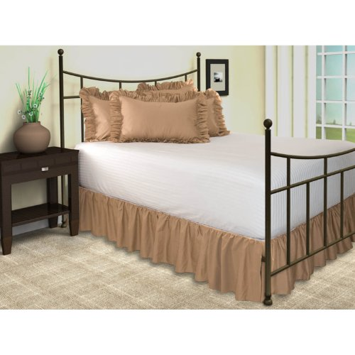 "Poly Cotton Ruffled Bed Skirt With Split Corners, Queen, 21"" Drop, Camel back-991655"