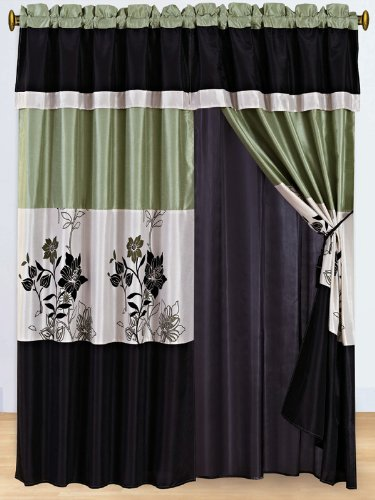 3-Layer Modern SAGE GREEN/BEIGE/BLACK Pin Tuck Curtain Window ...