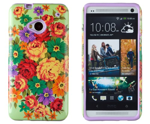 DandyCase 2in1 Hybrid High Impact Hard Colorful Flowering Garden Pattern + Purple Silicone Case Cover For HTC One M7 4G LTE + DandyCase Screen Cleaner