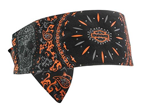 Harley-Davidson Women's Tribal H-D Skull Headband Black & Orange HP05164