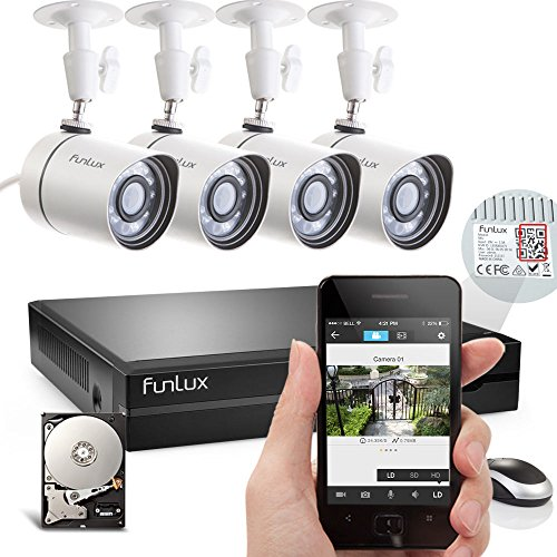 """Funlux® 4 Outdoor Megapixel 1280 * 720P HD Security Camera 4CH sPoE NVR Surveillance System 500GB Hard Drive (Record up to 150 Days) – Scan QR Code to Quick Remote Access – Push Alerts on Phone – Selected by the Pittsburgh Police """"Virtual Block Watch"""" Program"""