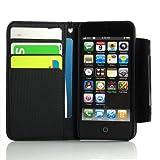 i-Beans【全6色】iPhone5用PUレザースタンドケース 横開きタイプ カード入れ ストラップ付き ブラック PU Leather Case for iPhone 5(7779-1)