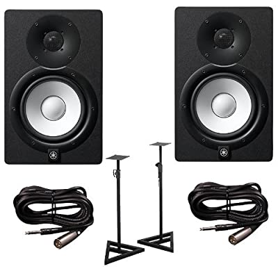 Yamaha HS7 Active Studio Monitors w Speaker Stands and TRS to XLR Male Cables by Yamaha