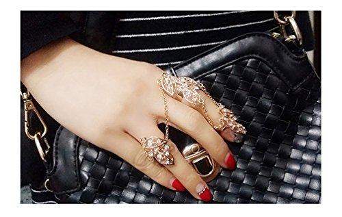 Midi-rings con catenina decorati da foglie con strass effetto oro o argento di DesiDo® (oro)