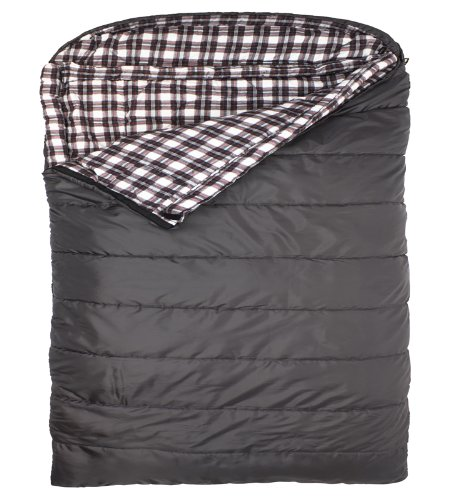 TETON Sports Fahrenheit Mammoth Queen Size COTTON Flannel Lined Sleeping Bag (94″x 62″, Grey, 0 Degree F)