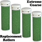 Extreme Coarse Micro Mineral Emjoi Micro-Pedi Compatible Replacement Rollers for Extremely Rough and Tough Calluses (4 pack)