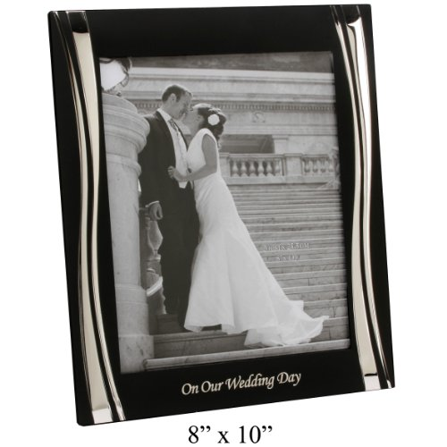 Contempory Black And Silver Wedding Day Photoframe - Fantastic Wedding Present / Engagement Gift (FS24980WD)