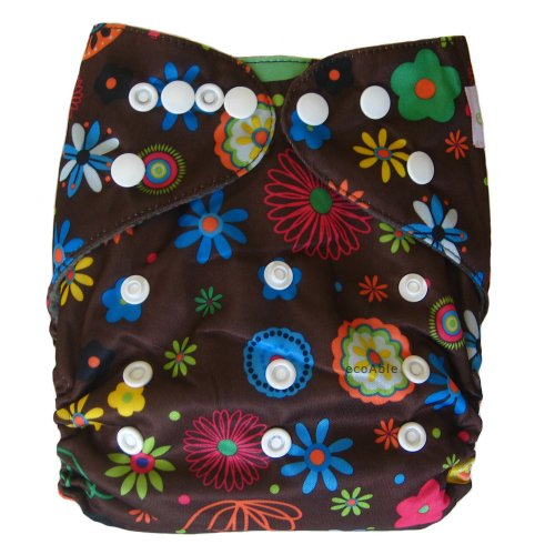 Ecoable All-In-One Bamboo Inner Cloth Diaper/Sewn-In Insert, Blossom - 1