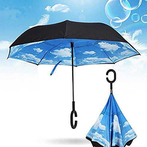 Di doppio strato di Invertita Ombrello da Aiqi - Forte impermeabile di protezione / UV / antivento - sereno o pioggia anfibio con le mani a forma di C maniglia libero, la migliore per il viaggio e auto Usa (azzurro di cielo)