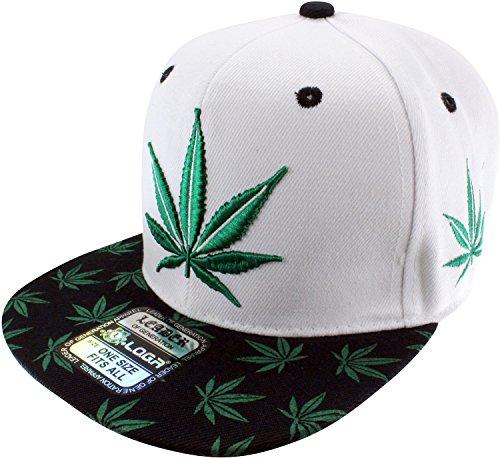 Enimay-Weed-Marijuana-Pot-Leaf-Snapback-Hat-White-Green-Big-Small-Leaf