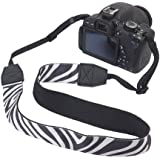 GTMax Zebra Comfortable Camera Shoulder / Neck Strap for Canon Nikon FujiFilm Sony Pentax Panansonic and more Digital Cameras with Cleaning Cloth