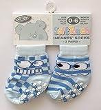 Soft Touch Pack de dos pares de calcetines antiderapantes de bebe Azul 0-6, 6-12o 12-18meses azul azul Talla:0 - 6 meses