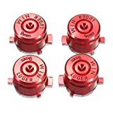 Aluminium Metal Mod Kit Levers Joystick Bullet Buttons for PS4 PS3 Controller Replacement (Red)