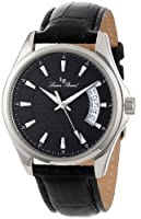 Lucien Piccard Men's 98660-01 Excalibur Black Textured Dial Black Leather Watch by Lucien Piccard