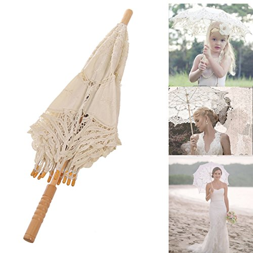 Remedios Ivory Bridal Wedding Cotton Lace Parasol Umbrella for Party Decoration 6
