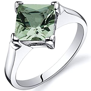 Striking 1.50 carats Green Amethyst Engagement Ring in Sterling Silver Rhodium Finish Size 8, Available in Sizes 5 thru 9