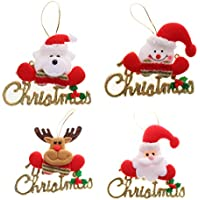 Pack Of 4 Merry Christmas Hanging Decoration Wall Door Tree Christmas Hangings - B01KUZOC94