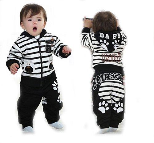 Sopo Baby Boy 3 Piece Outfits (Bear Strip Hood Jacket Tshirt Pants) Black 24M front-1046981
