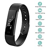Fitness Tracker, bossblue Smart Fitness Watch Touch Screen Activity Health Tracker Wearable Pedometer Smart Wristband Black