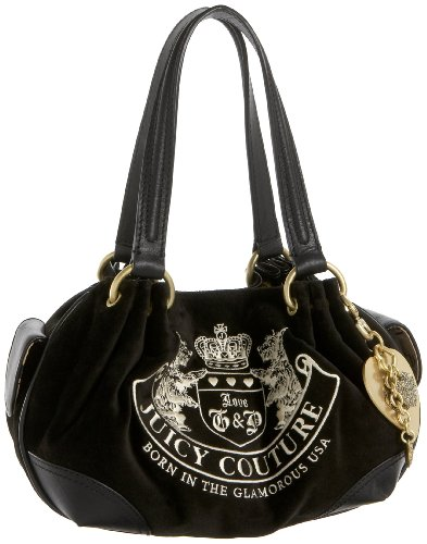 Juicy Couture Heritage Crest Jewel Charm Baby Fluffy Bag Purse Black