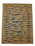 ミリタリー ポスター 【 世界の銃火器 ライフル 】 M4 AK M16 G36 FN L85 H&K ステアー STEYR MAGPUL マグプル MASADA マサダ FN SCAR スカー COLT コルト ファマス FN2000 COLT アサルトライフル カービン 自動小銃 一覧 ( 世界の小銃 ライフル ) gs407