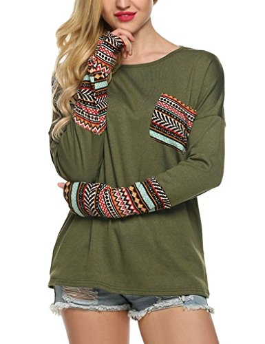 LuckyMore Womens Striped Patch Raglan Long Sleeve T-shirt Loose Fitting Top Blouse