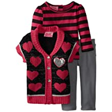 Young Hearts Baby-Girls Infant 3 Piece Stripped Heart Sweater And Pant Set, Black, 18 Months