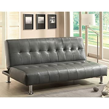 Bulle Gray Leatherette Finish Futon Sofa Bed by Furniture of America