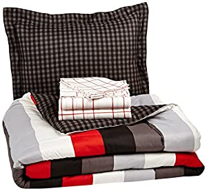 Pinzon 5-Piece Bed In A Bag - Twin X-Large,  Red Simple Stripe