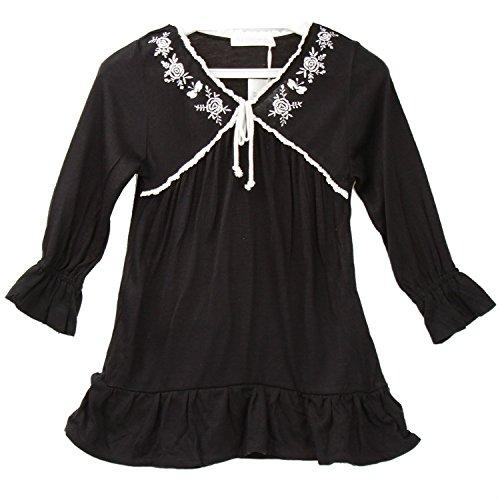 (ハイハート)Hiheart 女の子 チュニックドレス 子供 長袖 フォーマル ワンピース ブラック 100cm