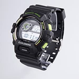 TIME100 LCD Multifunction Green Bezel Sport Electronic Watch #W40016M.04A