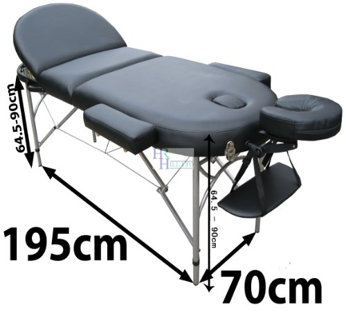 MASSAGE IMPERIAL PROFESSIONAL LIGHTWEIGHT BLACK CONSORT ALUMINIUM PORTABLE MASSAGE TABLE COUCH 7cm/3