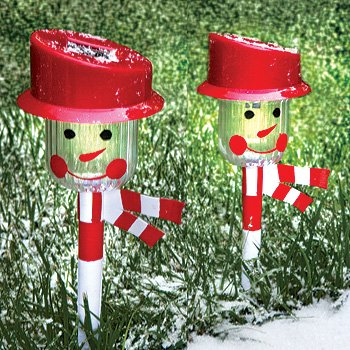 holiday christmas snowman solar landscape pathway lights set of 2 review - Christmas Pathway Decorations