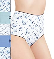 5 Pack Cotton Rich High Rise Rose & Spotted Full Briefs