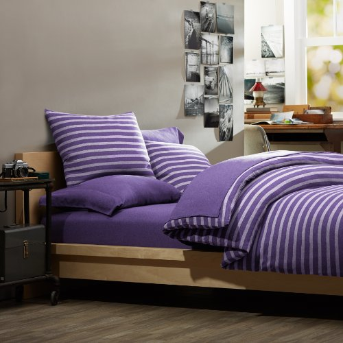 Pinzon Heather Jersey Yarn-Dyed Duvet Set, Full/Queen, Violet Heather Stripe