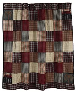 Shower Curtain - Ashfield - Primitive Country Rustic, Willow Tree, Saltbox, Plaid Fabric Bath
