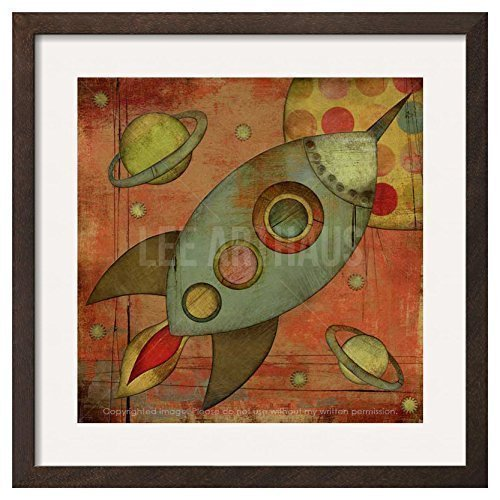 Space Rocket Collage UNFRAMED Wall Art Print by Lee ArtHaus (Outer Space Invitations compare prices)