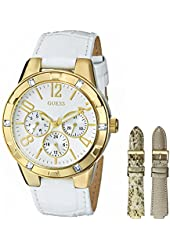 GUESS Women's U0163L4 Sport & Shine Gold-Tone Multi-Function Watch with Interchangeable Leather Straps