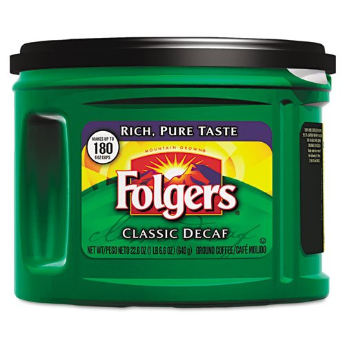 Folgers Ground Coffee, Classic Roast Decaffeinated, Ground, 22 3/5 Oz., Can - Includes Six Cans.