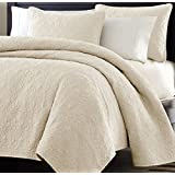 Multiple Sizes - Oversized-3pc Quilted Coverlet Set- Ivory-King - Exclusively by Blowout Bedding RN# 142035