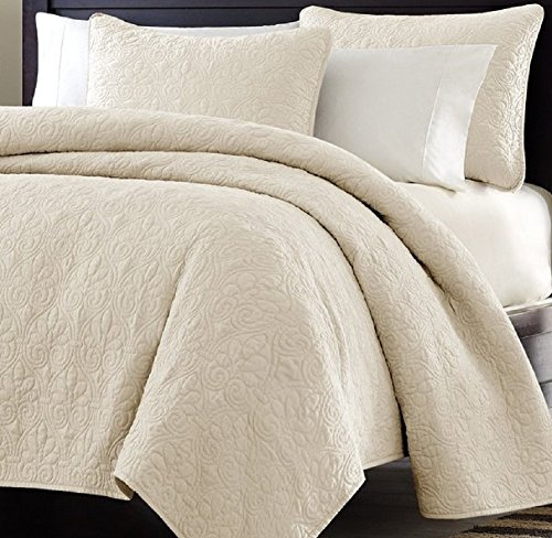 Review Of Multiple Sizes - Oversized-3pc Quilted Coverlet Set- Ivory-Queen - Exclusively by Blowout ...